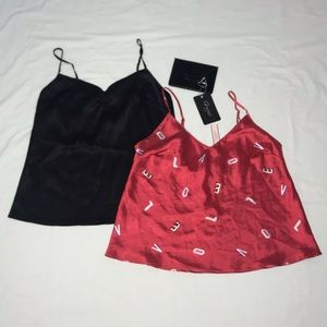 """VS: Red """"Love"""" & Black Satin Cami & Mini Wallet"""